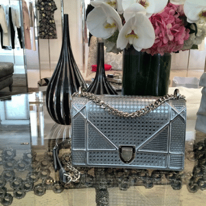 Dior Silver Metallic Perforated Diorama Bag