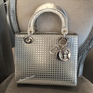 Dior Silver Metallic Perforated Lady Dior Bag 2