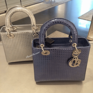 Dior Silver/Grey Perforated Lady Dior Bags