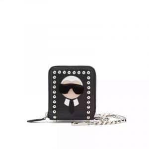 Fendi Black Mini Studded Karlito Pouch Bag