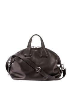Givenchy Black Waxy Leather Nightingale Medium Bag