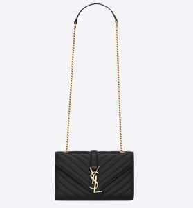 Saint Laurent Black Matelasse Monogram Satchel Small Bag