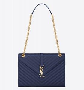 Saint Laurent Blue Matelasse Monogram Satchel Large Bag