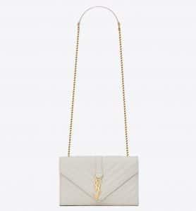 Saint Laurent Dove White Matelasse Monogram Satchel Small Bag