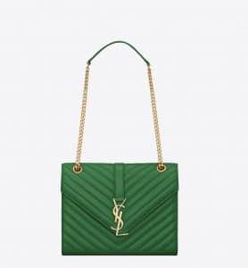 Saint Laurent Emerald Green Matelasse Monogram Satchel Medium Bag
