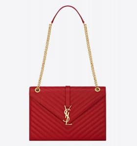 Saint Laurent Lipstick Red Matelasse Monogram Satchel Large Bag