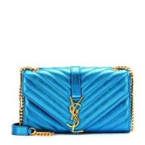 Saint Laurent Metallic Blue Matelasse Monogram Satchel Small Bag