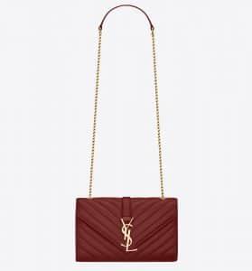 Saint Laurent Oxblood Matelasse Monogram Satchel Small Bag