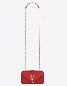 Saint Laurent Red Matelasse Monogram Satchel Baby Bag