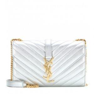 Saint Laurent Silver Matelasse Monogram Satchel Small Bag