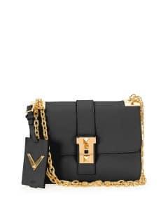 Valentino Black B-Rockstud Flap Bag