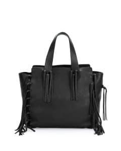 Valentino Black C-Rockee Fringe Tote Bag