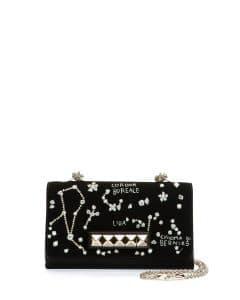 Valentino Black Constellation Embroidered Va Va Voom Flap Bag