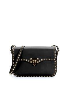 Valentino Black Rockstud Round Flap Bag