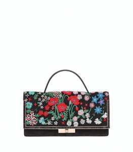 Valentino Black Spring Garden Beaded Suede Clutch Bag