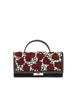 Valentino Black/Red Heart & Flower Embellished Suede Clutch Bag
