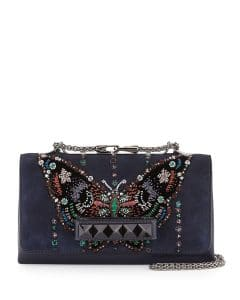 Valentino Blue Butterfly Beaded Va Va Voom Flap Bag