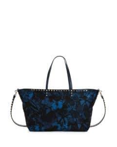 Valentino Blue Camu Butterfly Printed Nylon Tote Bag