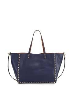 Valentino Blue/Brown Rockstud Reversible Tote Bag