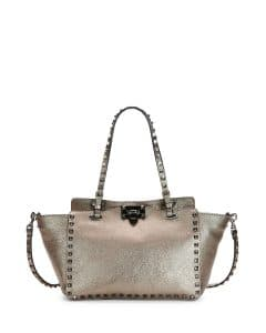 Valentino Bronze Metallic Rockstud East-West Tote Bag
