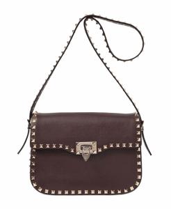 Valentino Dark Brown Rockstud Round Flap Bag