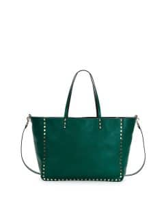 Valentino Green/Black Rockstud Reversible Medium Tote Bag