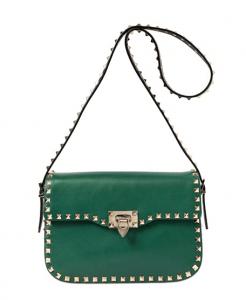 Valentino Green/Black Rockstud Round Flap Bag
