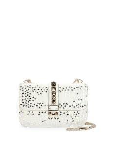 Valentino Ivory Floral Embroidered Rockstud Flap Bag