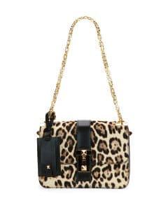 Valentino Leopard Print B-Rockstud Flap Bag