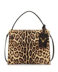 Valentino Leopard Print Calf Hair My Rockstud Top Handle Bag