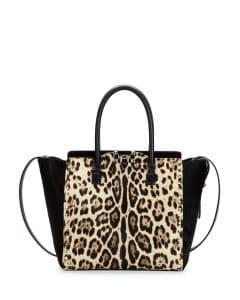 Valentino Leopard Print Calf Hair Rockstud Shopper Bag