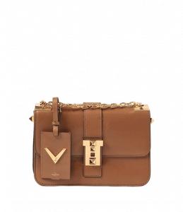 Valentino Light Brown B-Rockstud Flap Bag
