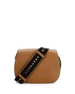 Valentino Light Brown Band Rockstud Messenger Bag