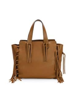 Valentino Light Brown C-Rockee Fringe Tote Bag