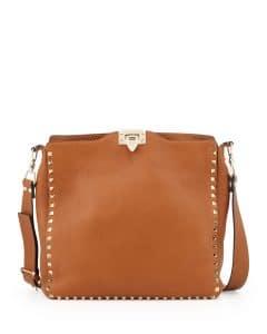 Valentino Light Brown Rockstud Flip-Lock Messenger Bag