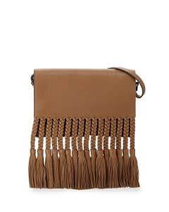 Valentino Light Brown T.B.C. Braided Fringe Bag