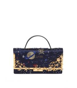 Valentino Midnight Blue Cosmos Embroidered Satin Clutch Bag