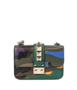 Valentino Multicolor Camouflage Lock Flap Mini Bag
