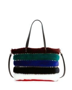 Valentino Multicolor Mink Fur Rockstud Tote Large Bag