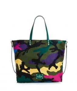 Valentino Multicolor Nylon Camo Print Easy Tote Bag