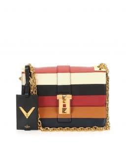 Valentino Multicolor Striped B-Rockstud Flap Bag
