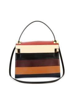 Valentino Multicolor Striped My Rockstud Top Handle Bag