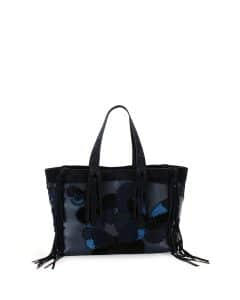 Valentino Navy C-Rockee Butterfly Embroidered Fringe Tote Bag
