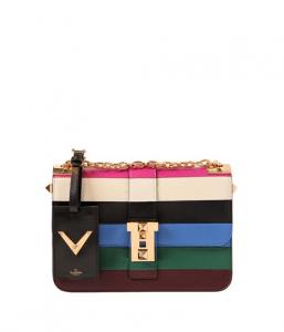 Valentino Pink Multicolor Striped B-Rockstud Flap Bag