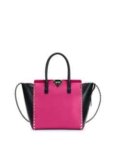 Valentino Pink/Black Rockstud Shopper Bag