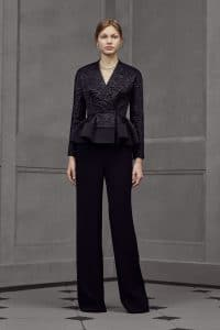 Balenciaga Black Embroidered Peplum Top - Resort 2016