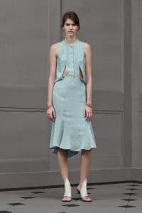 Balenciaga Light Blue Polkadot Cut-out Dress - Resort 2016