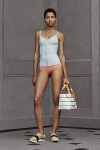 Balenciaga White/Tan Woven Tote Bag - Resort 2016
