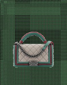 Chanel Beige/Green/Red Boy Chanel Handle Flap Large Bag