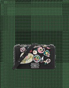 Chanel Black Felt with Crest Embellishments Boy Chanel Flap Bag